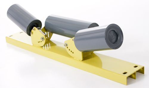 3 Roller set for 900mm wide conveyor belt, heavy duty steel 4 inch (102mm)  multiple angles