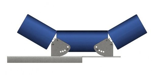 3 Roller set for 400mm wide conveyor belt, heavy duty steel 4 inch (102mm)  multiple angles